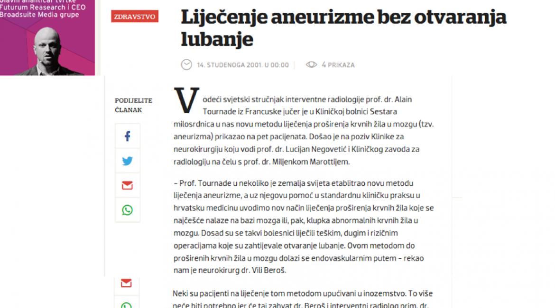 Večernji list, 2001.g. Prof. Alain Tournade